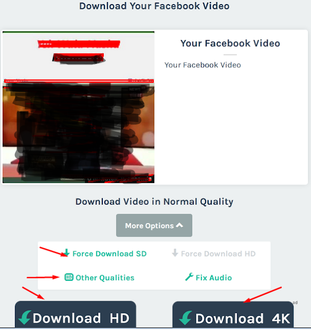 select quality and download your facebook video