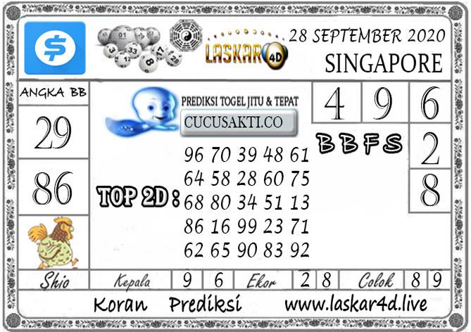 Prediksi Togel SINGAPORE LASKAR4D 28 SEPTEMBER 2020