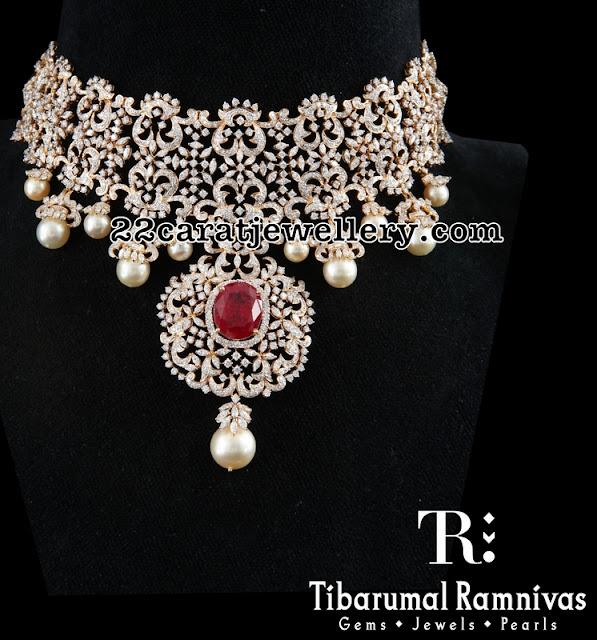 Broad Trendy Diamond Floral Choker by Tibarumal