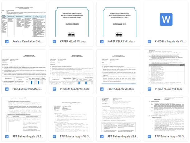 Perangkat Pembelajaran Bahasa Inggris RPP SILABUS PROTA PROMES KI KD ANALISIS Kelas 7, 8, 9 Kurikulum 2013 SMP-MTs