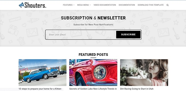 Shouters Premium Blogger Template Free Download