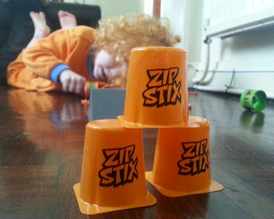Zip Stix Stunt Pack Review 4 year old knocking over cones