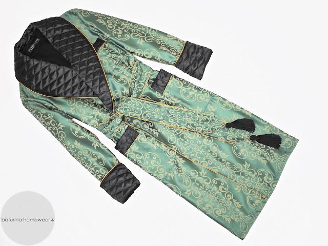 mens green paisley silk robe quilted dressing gown victorian smoking jacket vintage gentleman