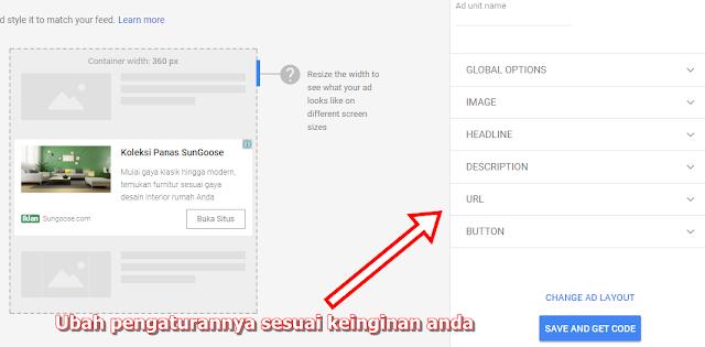 Cara memasang iklan in feed ads dari google adsense