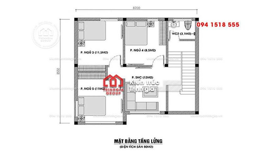 Bản vẽ mẫu nhà cấp 4 có gác lửng thiết kế hiện đại mái thái - Mã số BT1011 - Ảnh 1