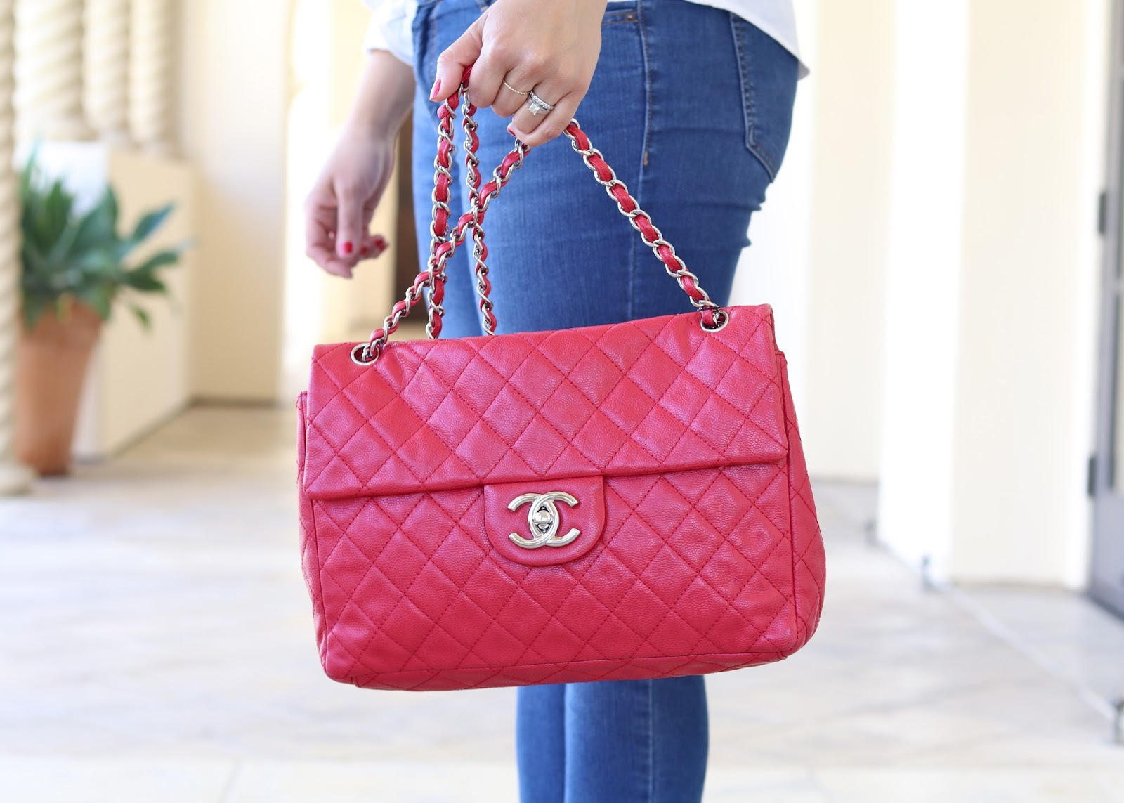 CHANEL RED SOFT CAVIAR LEATHER MAXI FLAP BAG, chanel red with silver hardware
