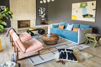 Mid-century interior design colors combination idea