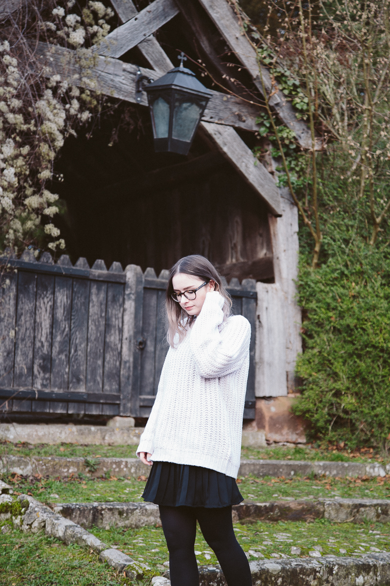 Pleated Skirt and Oversized Jumper Outfit & Giveaway