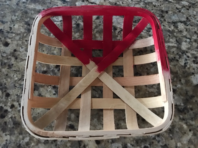 square tobacco basket red painted