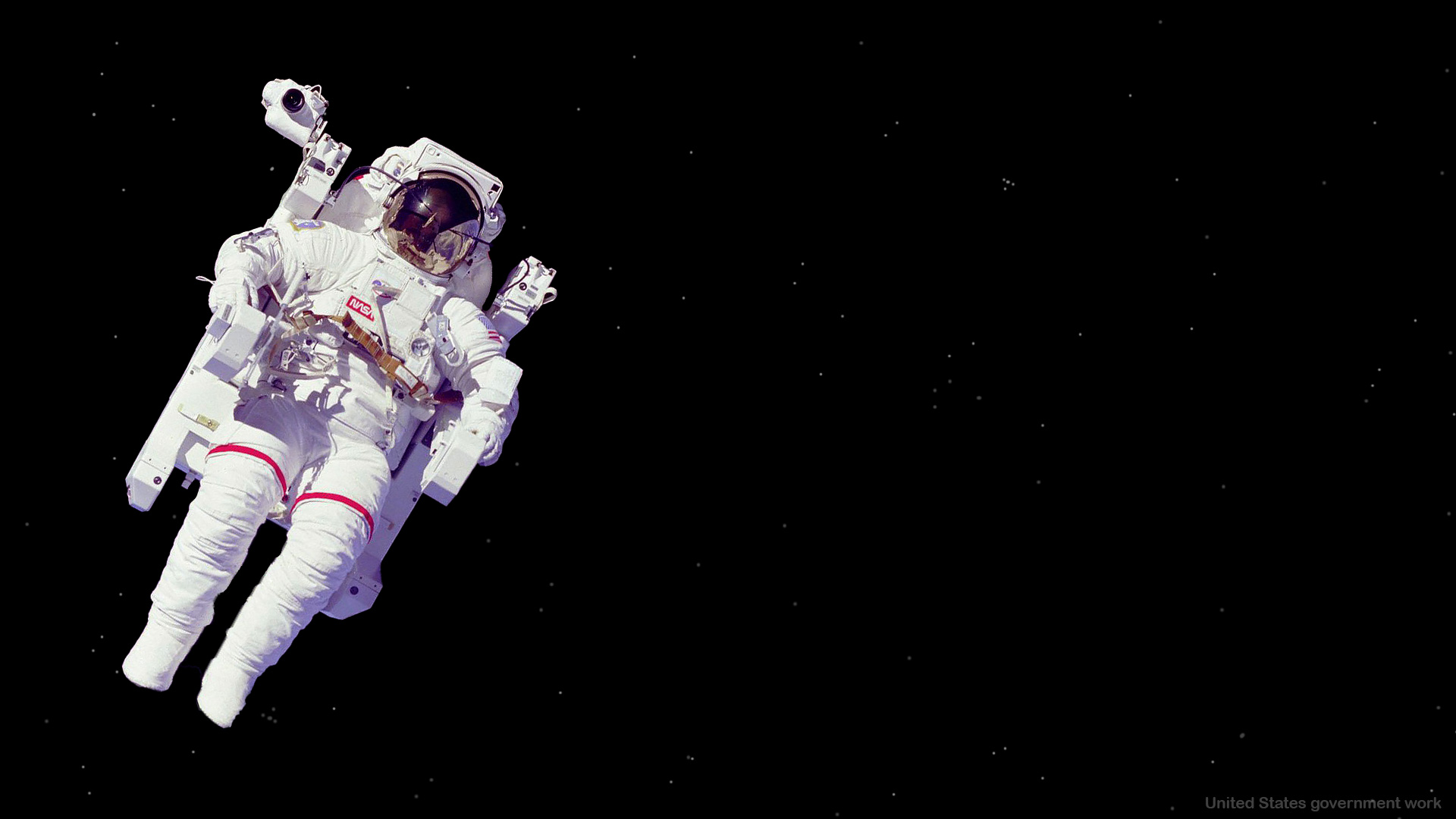 Astronaut in Space with empty black space Background for presentations