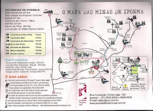 Mapa com cachoeiras de Ipoema, Minas Gerais
