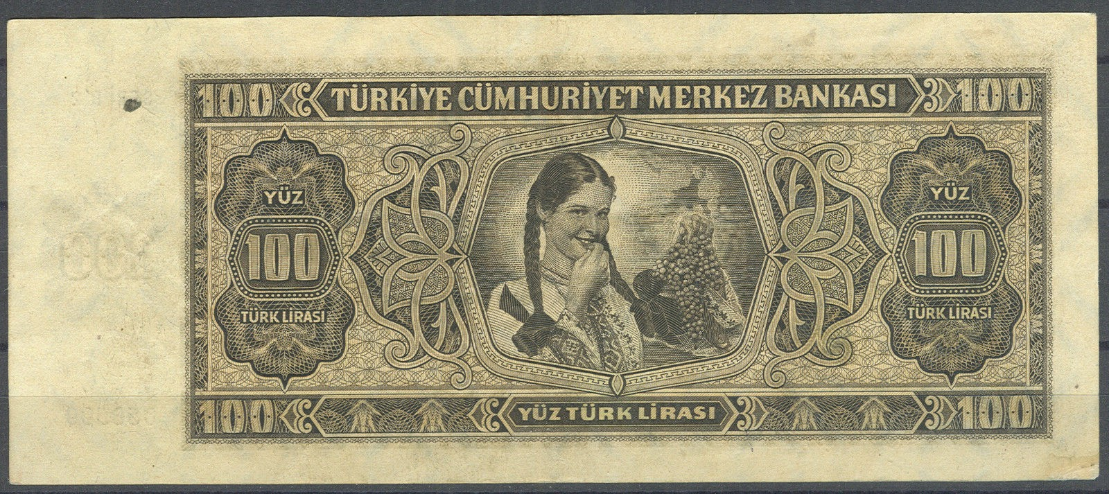 "Turkey currency money 100 Turkish Lira ""Türk Lirasi"" note 1930 girl holding grapes"