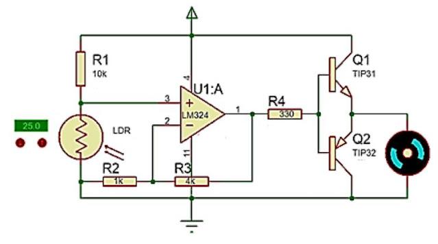 Implementasi Sensor LDR dengan kendali analog