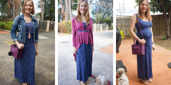 3 outfit ideas purple pieces with blue maxi dress awayfromtheblue