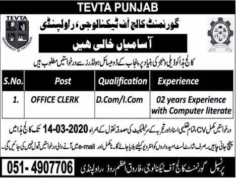 Government College of Technology Rawalpindi (TEVTA) Jobs