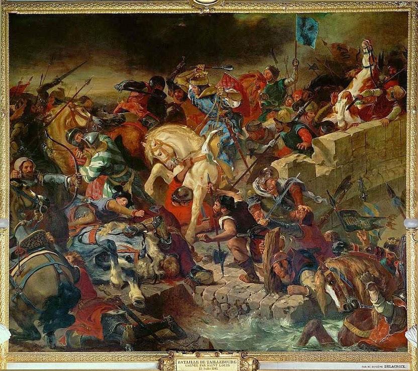 São Luís rei, na batalha de Taillebourg, 21-07-1242. Ferdinand-Victor-Eugène Delacroix 1798-1863, Galerie des Batailles, Versailles.