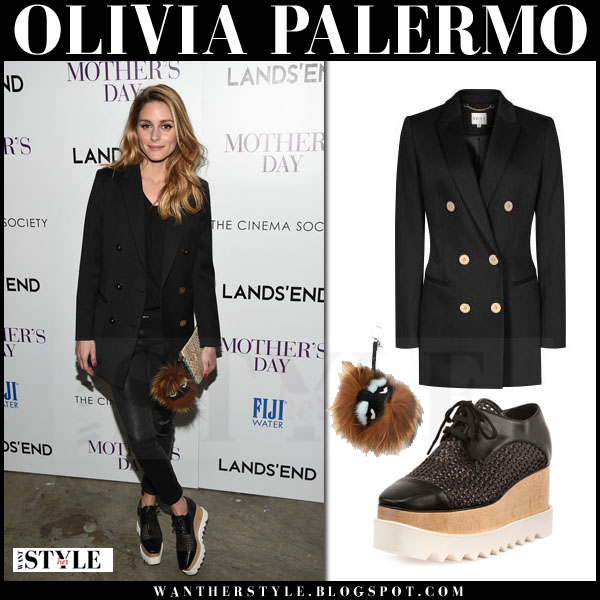 Olivia Palermo in black double breasted reiss lavinnia blazer, black leather pants and black platform stella mccartney elyse oxfords what she wore
