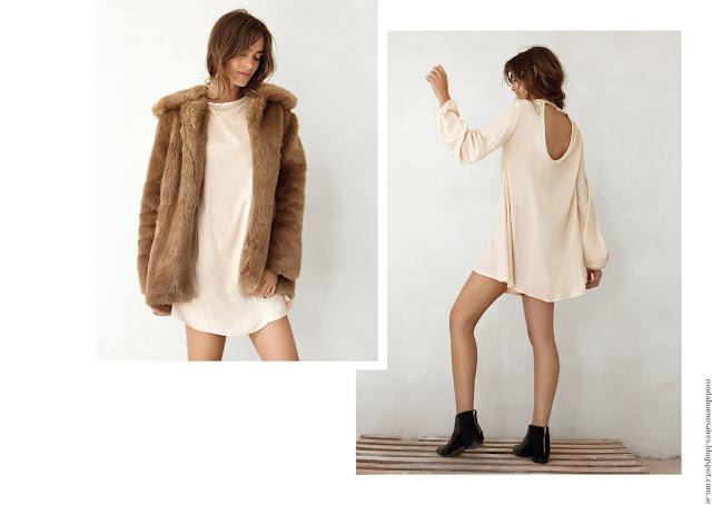 Moda mujer invierno 2016 ropa de moda tapados de piel. Moda 2016.