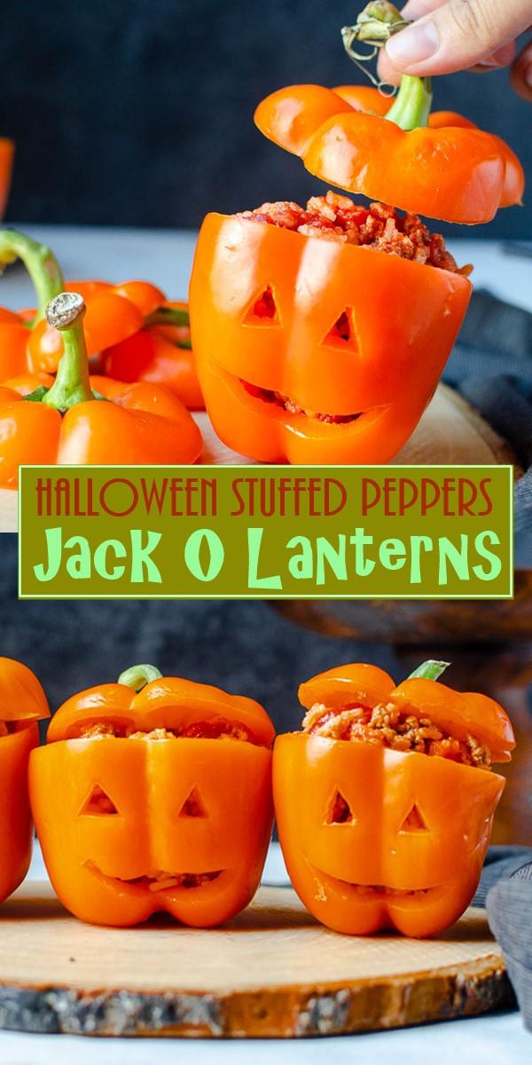 Halloween Stuffed Peppers Jack O Lanterns #hallooweenrecipes