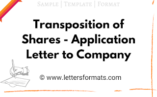 Transposition of Shares - Application Letter to Company format
