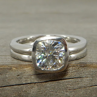 square cushion moissanite palladium wedding rings