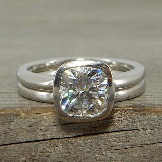 square cushion moissanite palladium wedding rings