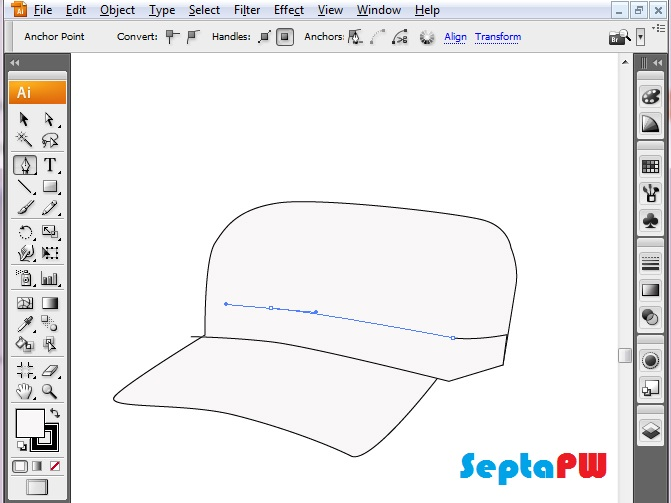 belajar gambar topi keren dengan adobe illustrator, pen tools