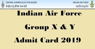 Indian Air Force Group,Air Force,Air Force Group X,Y Admit Card