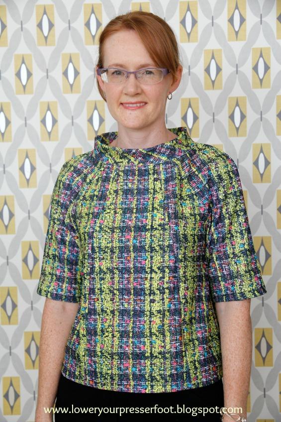 Burda 2/2016 #118 short sleeve raglan top in neon yellow and pink fabric www.loweryourpresserfoot.blogspot.com