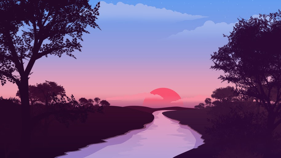 Sunset, Lake, Minimalist, Digital Art, Scenery, 4K, #6 ...