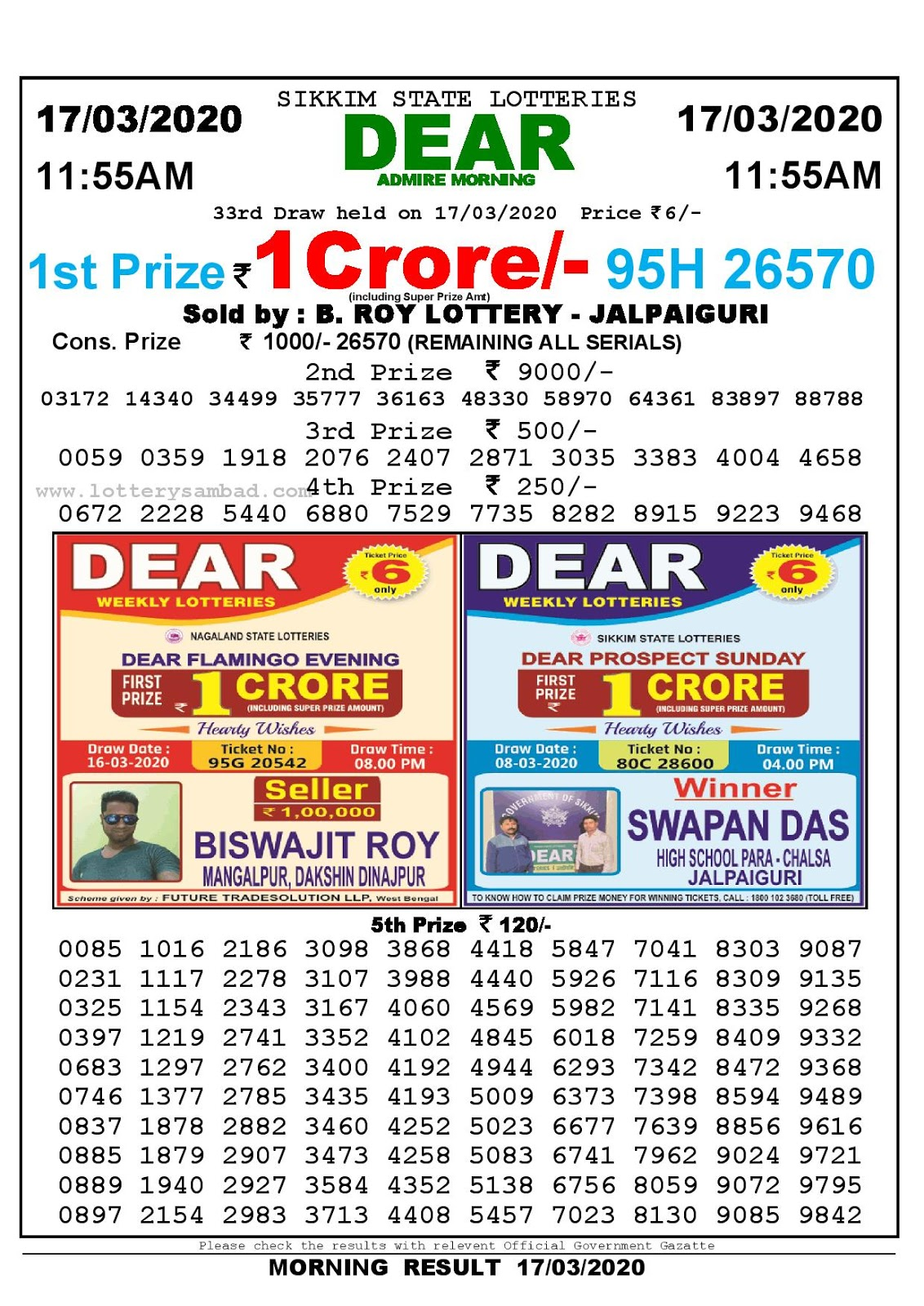 Lottery Sambad Today 17.03.2020 Dear Admire Morning 11:55 am