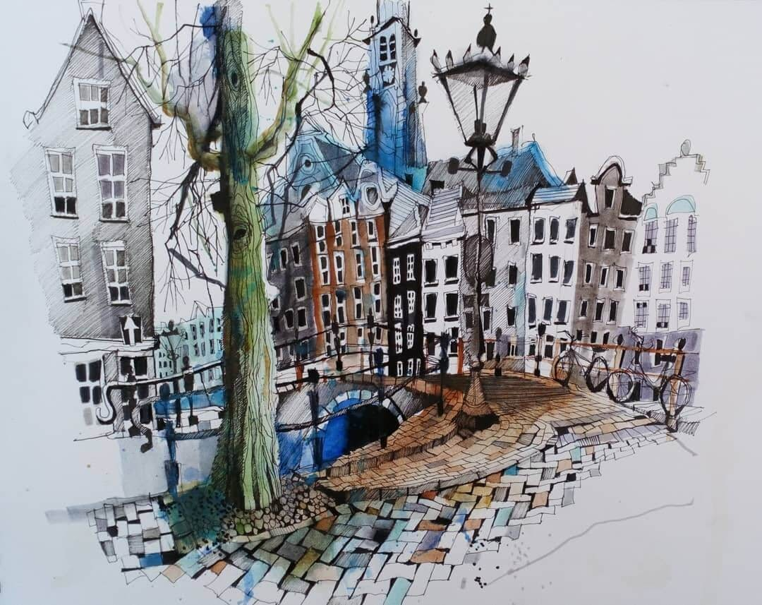 08-Keizersgracht-Amsterdam-Ian-Fennelly-Urban-Sketches-Colorfully-Painted-www-designstack-co