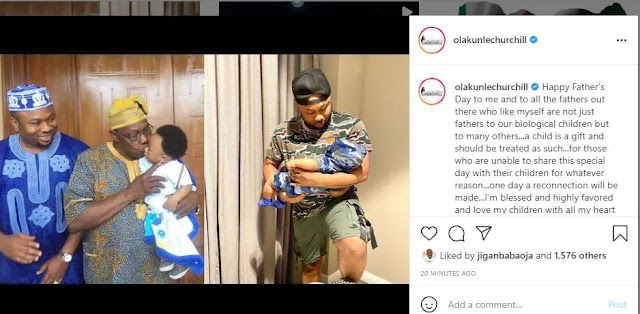 'One day a reconnection will be made-Olakunle Churchill celebrates his ex-wife Tonto Dikeh on father's day