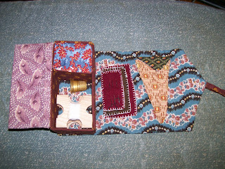 Rolled box sewing case from Fanciful Utility, open