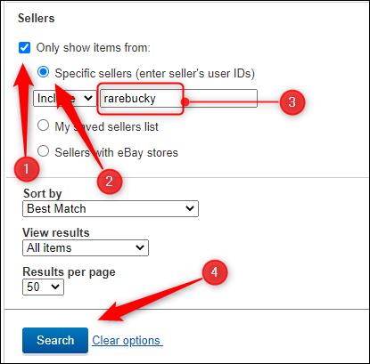 العناصر الموجودة في قسم البائعون في خيارات البحث المتقدم للبحث عن بائع معين