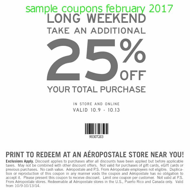 Aeropostale Coupons & Promo Codes for December Browse for Aeropostale coupons valid through December below. Find the latest Aeropostale coupon codes, online promotional codes, and the overall best coupons posted by our team of experts to save you 50% off at Aeropostale.