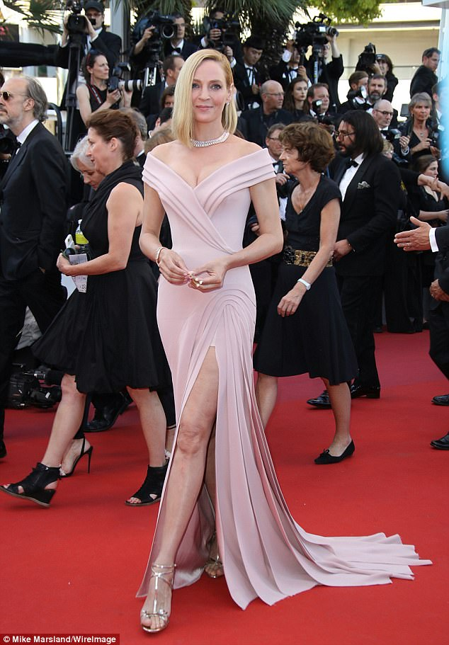 Uma Thurman goes glamorous in Versace at the 2017 Cannes Film Festival
