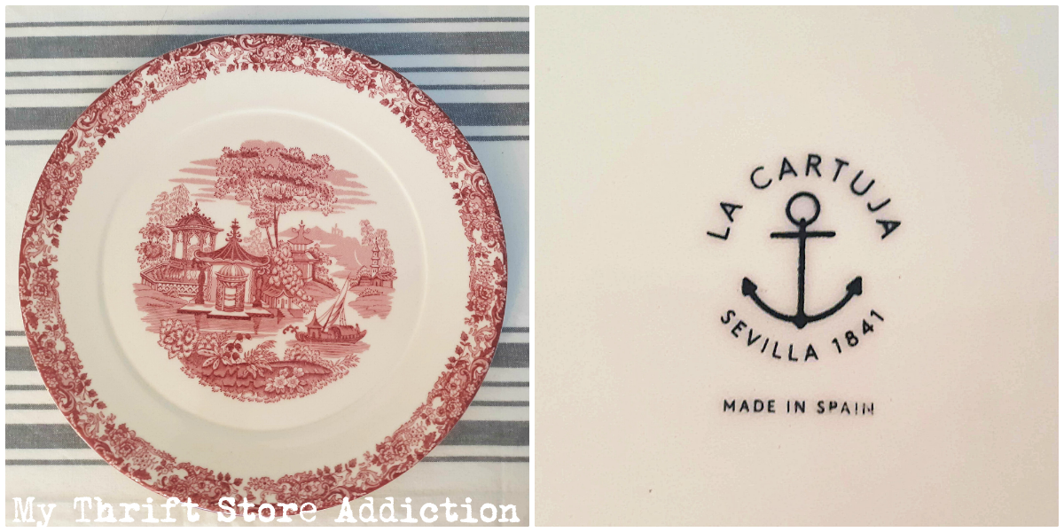 collectible red and white transferware