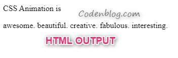 text animation - HTML Output