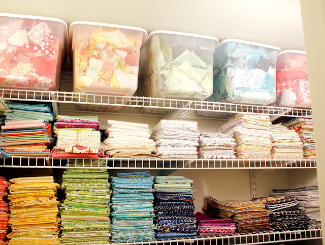 Fabric organized by color - lovely colors!