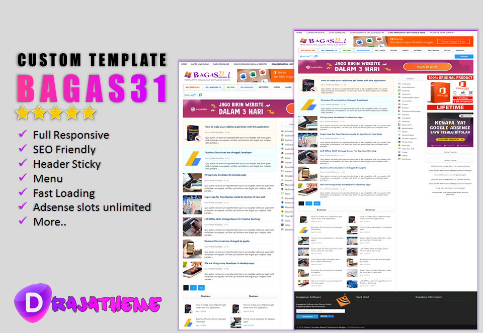 Costum Template Bagas31 Responsive Blogger