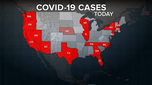 COVID-19 covered states in the US.
