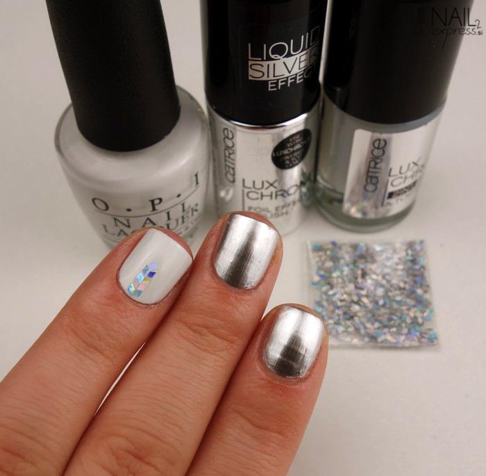 Srebrno-bela minimalistična manikira