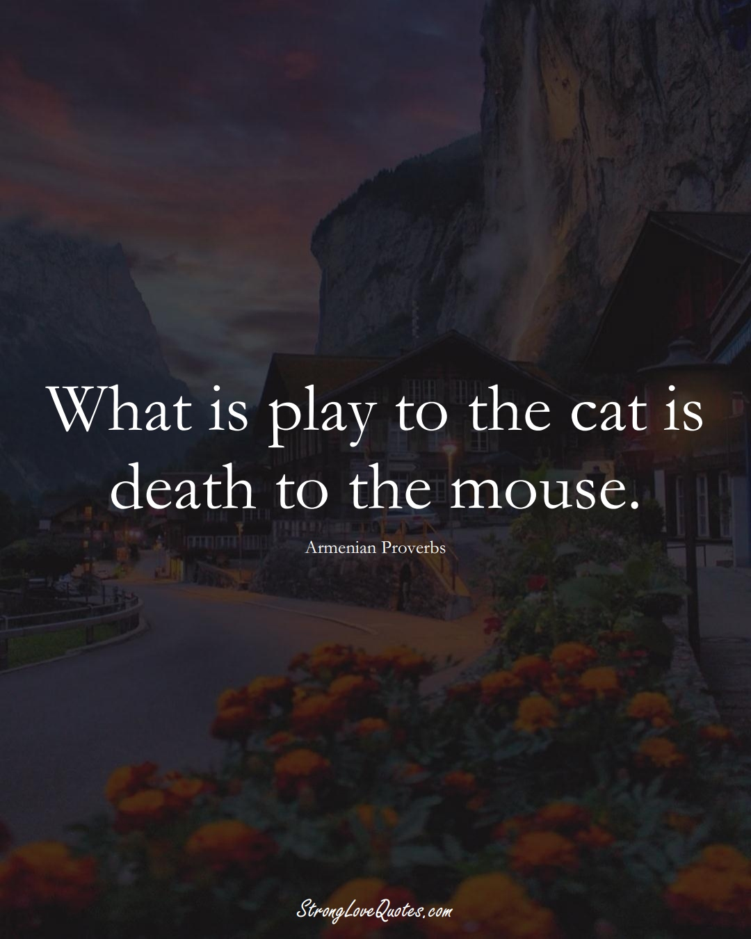 What is play to the cat is death to the mouse. (Armenian Sayings);  #AsianSayings