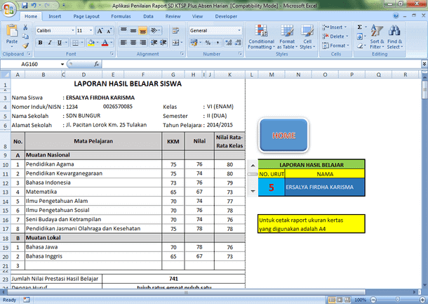 Aplikasi Penilaian Raport SD KTSP