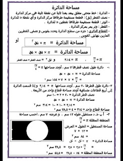 مراجعة رياضيات الصف السادس الابتدائى شهر أبريل مراجعة قوانين وتمارين + الحل