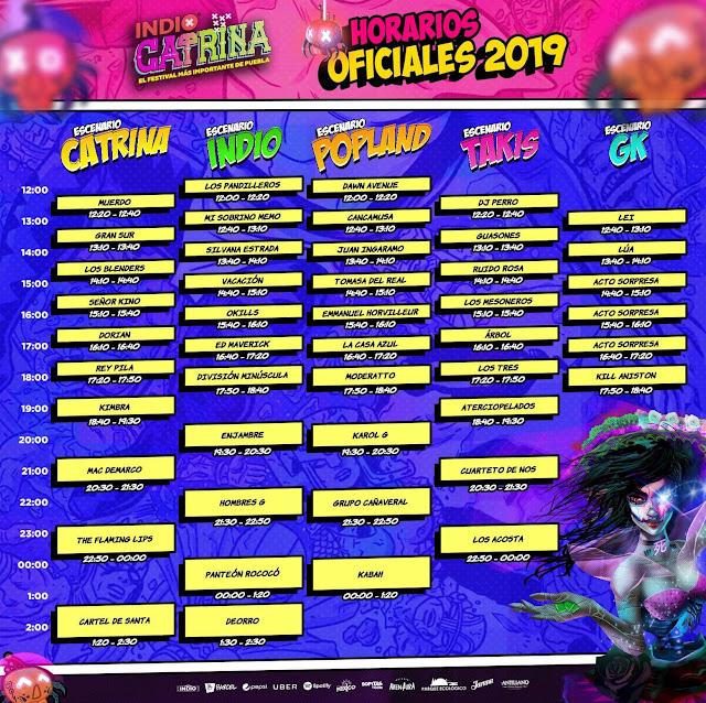 Horarios Catrina 2019