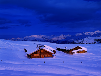 winter, snow, mountains, cabins