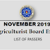 November 2019 Agriculturist Board Exam Result