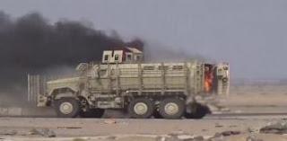 الجيش اليمني واللجان الشعبيه  يدمران آلية عسكرية سعودية في مأرب